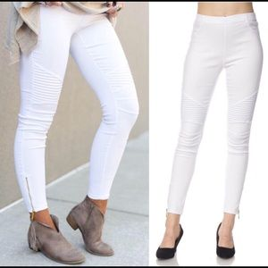 ✅Flash Sale! New white moto legging